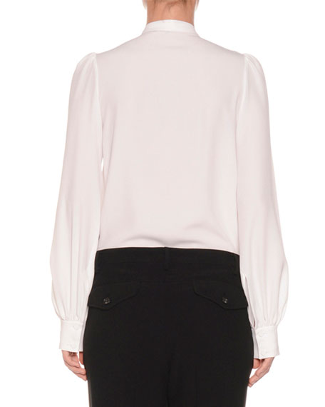 Tie-Neck Shirred Button-Front Long-Sleeve Silk-Blend Blouse