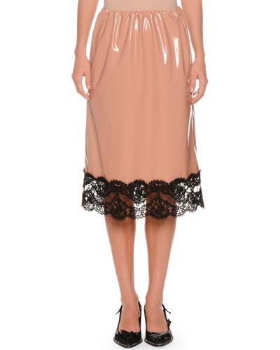 Patent Faux-Leather A-Line Skirt w/ Lace Trim