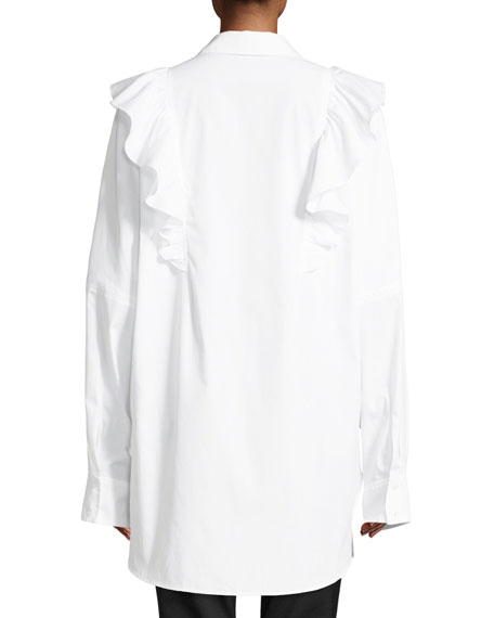 Auster Long-Sleeve Button-Down Cotton Top w/ Ruffled Trim