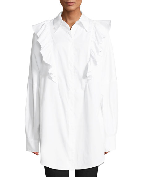 A.L.C. Auster Long-Sleeve Button-Down Cotton Top w/ Ruffled