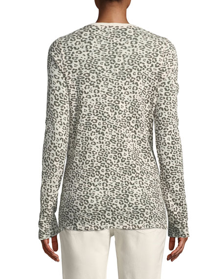 Crewneck Long-Sleeve Leopard-Print Slub Jersey Tee