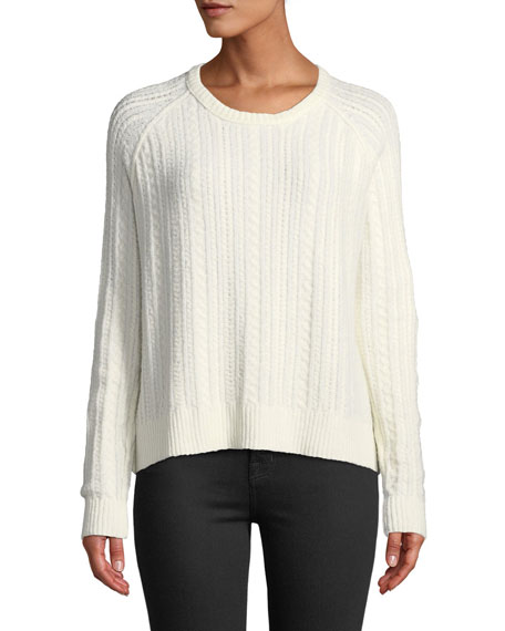 Cotton-Blend Cable-Knit Crewneck Sweater
