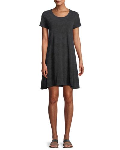 Scoop-Neck Short-Sleeve Soda-Wash Cotton Dress