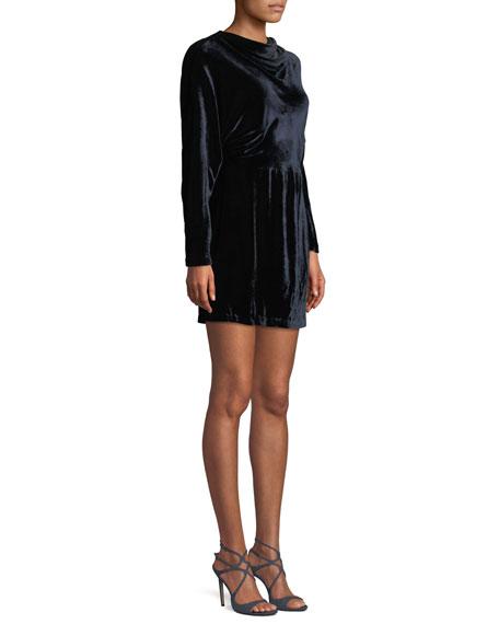 Marin Short Long-Sleeve Cowl-Neck Velvet Dress