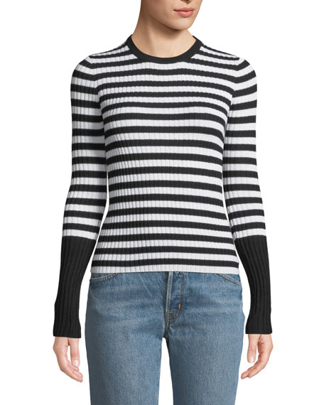 ATM Anthony Thomas Melillo Striped Wool Ribbed Crewneck