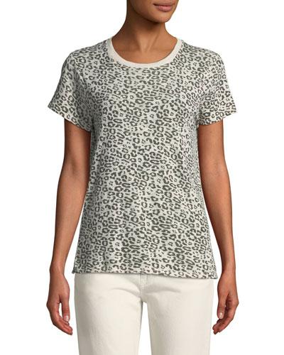 Crewneck Short-Sleeve Leopard-Print Slub Tee