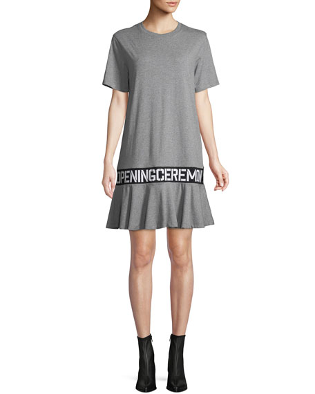 OC Elastic Logo Crewneck Short-Sleeve Cotton T-Shirt Dress