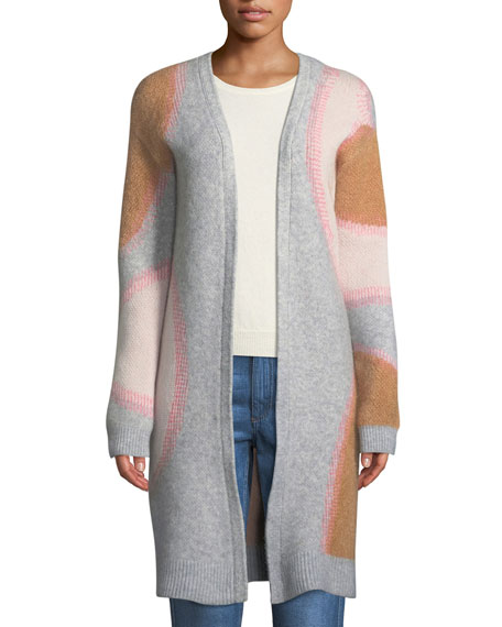 Drawa Long Open-Front Wool/Mohair Cardigan