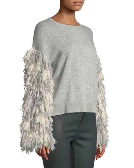 Berber Fringe-Sleeve Crewneck Sweater
