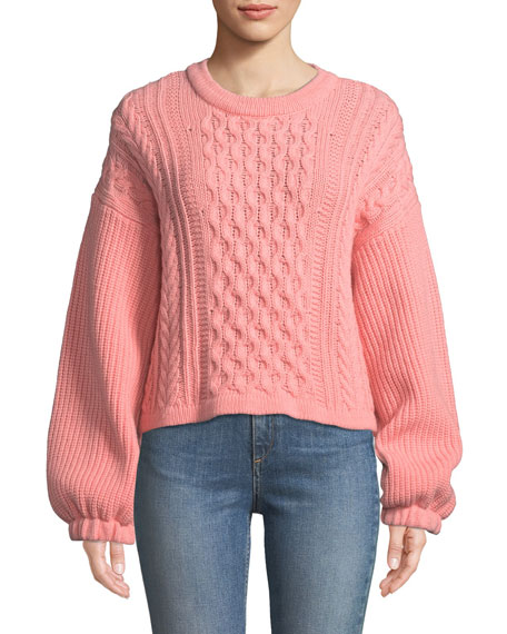 NEBUSA CABLE-KNIT WOOL SWEATER