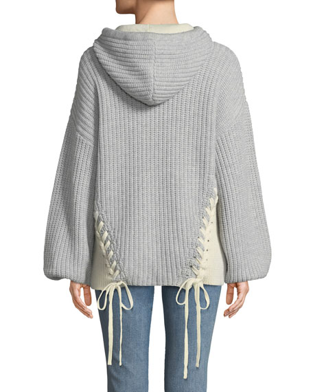 Dante Merino Knit Hoodie Sweater W/ Lace-Up Ties