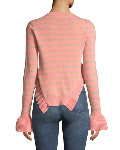 Kabylie Striped Wool Asymmetric-Ruffled Sweater