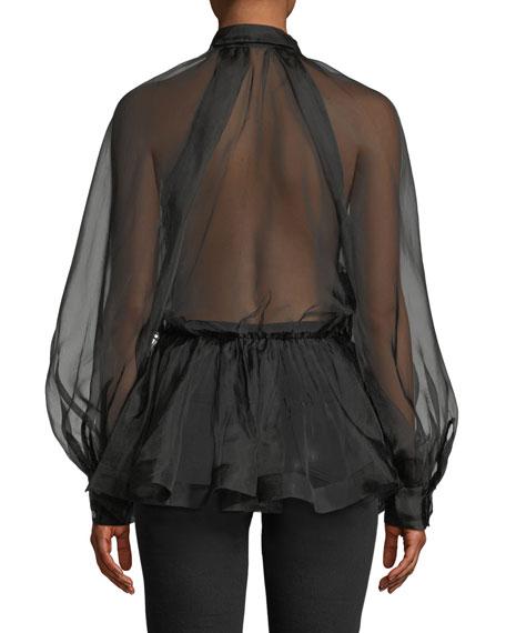 Silk Organza Tie-Neck Button-Front Blouse