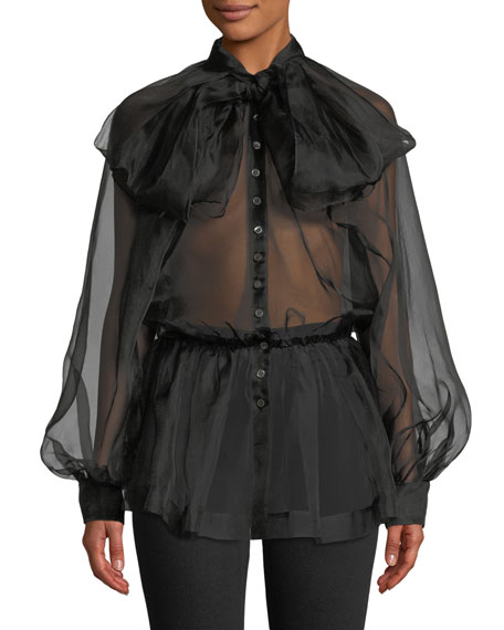 Anais Jourden Silk Organza Tie-Neck Button-Front Blouse