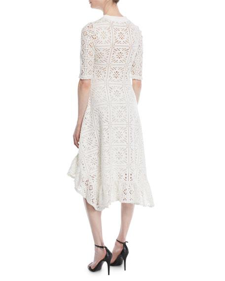 Short-Sleeve Cutout Lace A-Line Dress w/ Ruffled Hem