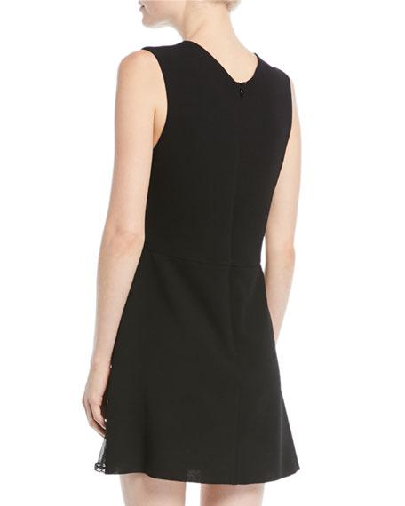 V-Neck Sleeveless A-Line Mini Dress w/ Ruffled Trim