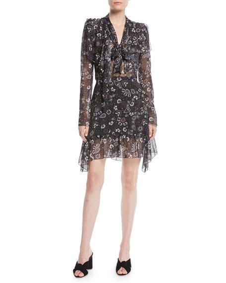 See by Chloe Printed Tie-Neck Long-Sleeve Flounce Dress