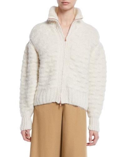 Fuzzy Zip-Front Knit-Back Jacket