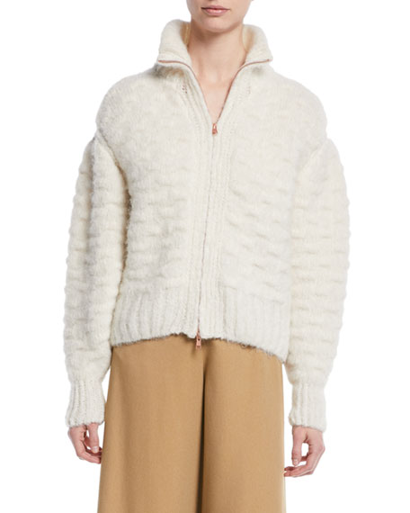 Fuzzy Zip-Front Knit-Back Jacket