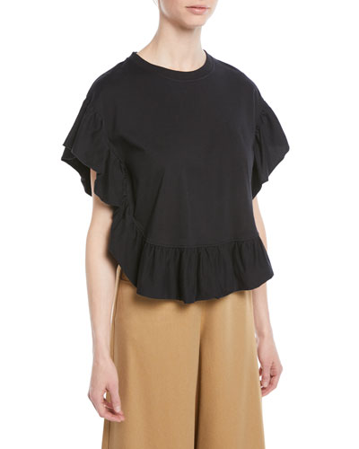 Ruffled Short-Sleeve Cotton Top
