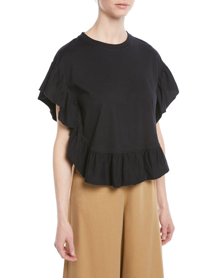 Ruffled Short-Sleeve Cotton Top
