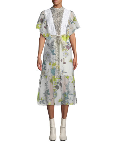 Floral Patchwork Organza Flounce Shirtdress