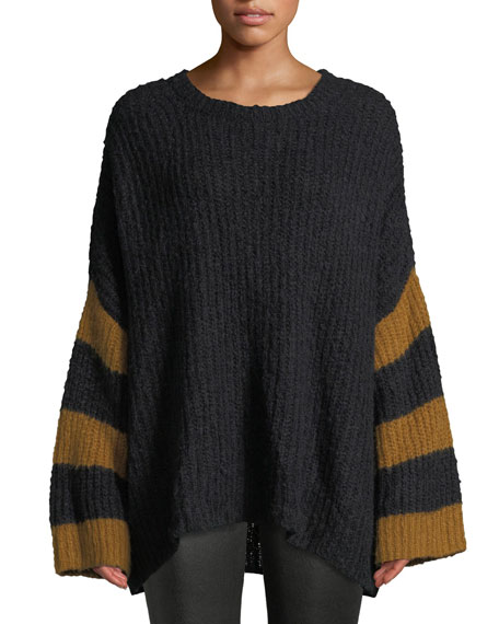 Lorenzo Crewneck Striped Long-Sleeve Alpaca-Blend Sweater