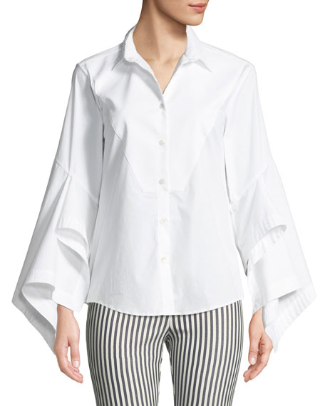 Poplin Bow-Tie Button-Front Blouse