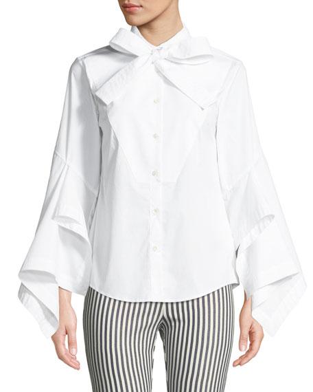 palmer//harding Poplin Bow-Tie Button-Front Blouse