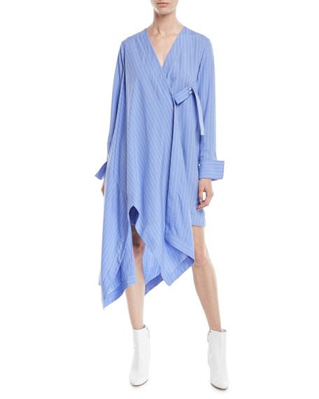 PALMER HARDING Finale Striped Asymmetric Shirtdress in Blue Pattern