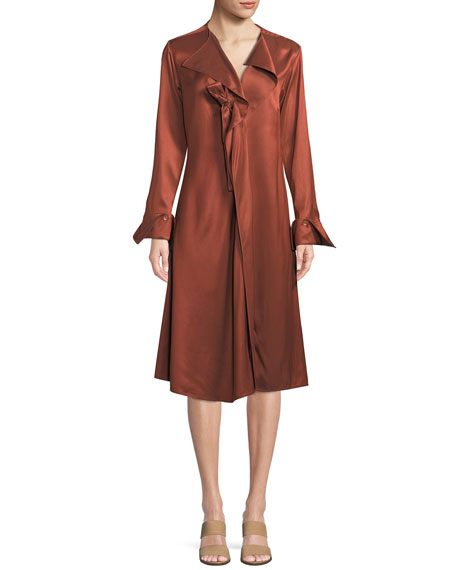PALMER/HARDING Dusk Twill Portrait-Neck Midi Dress in Dark Orange
