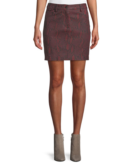 Troy Snake-Print Leather Mini Skirt