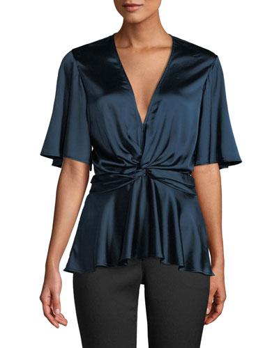 Alma Silk Flutter-Sleeve V-Neck Top