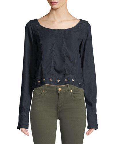 Suffolf Grommet-Trim Long-Sleeve Shirt