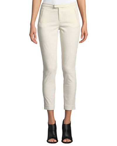 Stretch-Corduroy Cropped Slim-Leg Pants