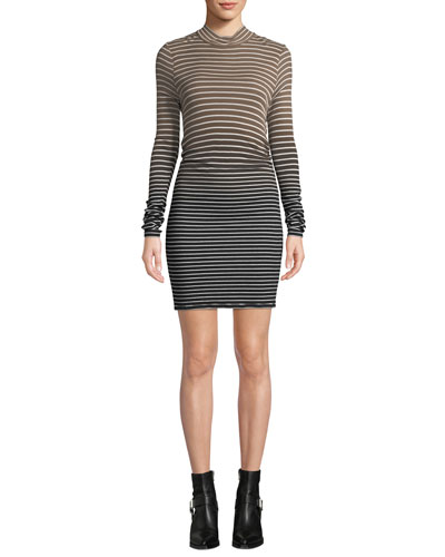 Dip-Dye Striped Mock-Neck Short Dress