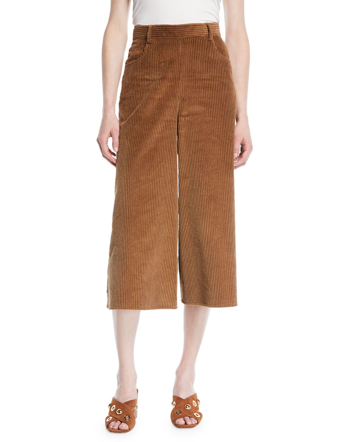ba721cac344 See by Chloe Wide-Leg Corduroy Cropped Pants