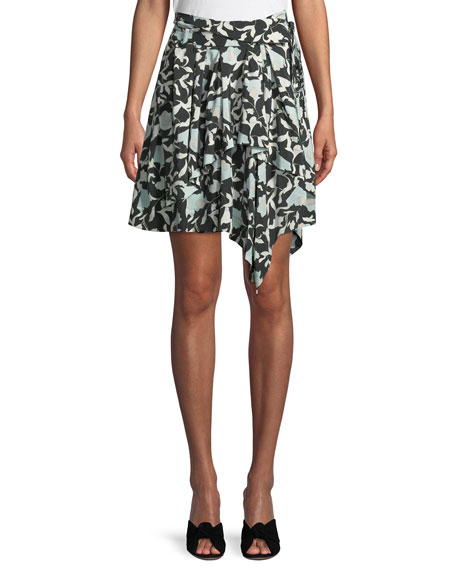 Christian Wijnants Sadira Floral Embroidered Asymmetric Skirt