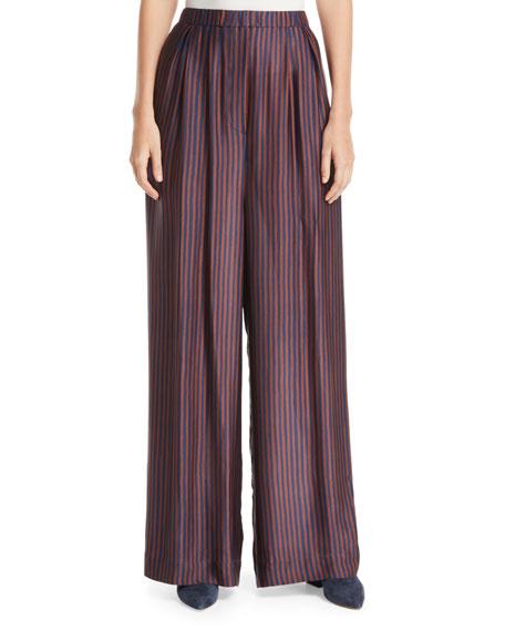 Papak Striped Wide-Leg Silk Pants