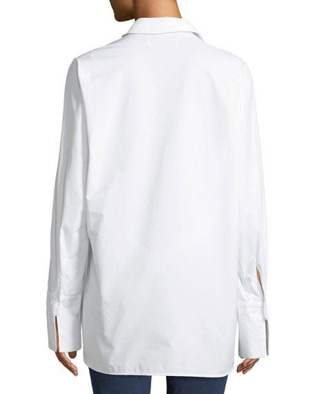 Tab Draped Button-Front Cotton Shirt
