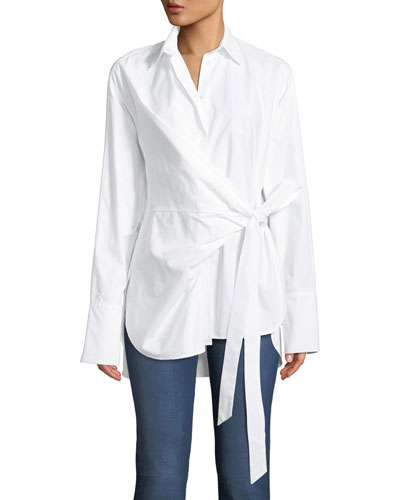 Tab Draped Button-Front Cotton Shirt