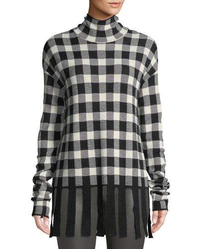 Kadiha Check Turtleneck Sweater w/ Fringe
