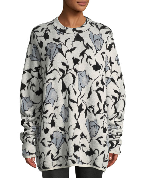 Christian Wijnants Killa Crewneck Floral-Jacquard Sweater