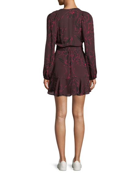 Embry Floral-Print Silk Mini Wrap Dress