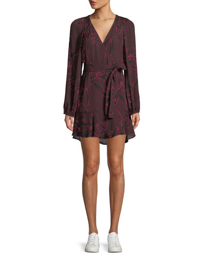 Embry Floral-Print Silk Mini Wrap Dress