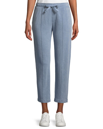 Croma Wash Drawstring-Waist Pull-On Cropped Cotton Pants