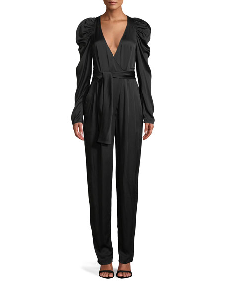 Christian Puff Sleeve Crepe De Chine Jumpsuit, Black