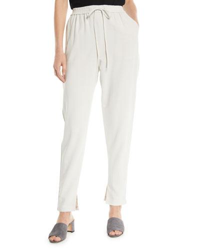 Drawstring Split-Hem Suiting Track Pants