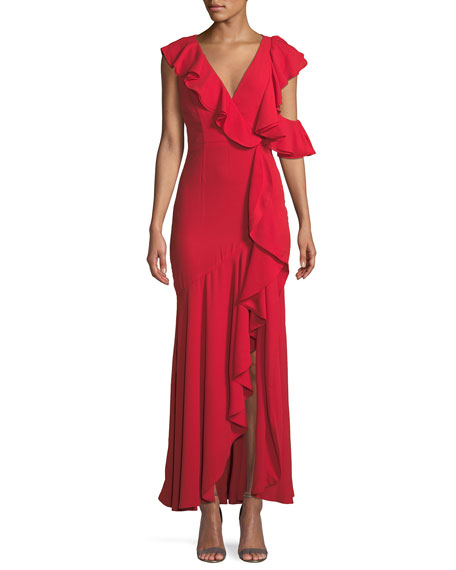 Fame And Partners VIONNA V-NECK SLEEVELESS DRAPED RUFFLED EVENING GOWN