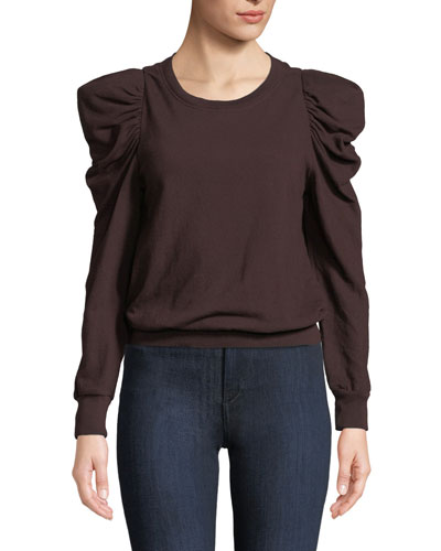 Loma Puff-Sleeve Pullover Sweatshirt
